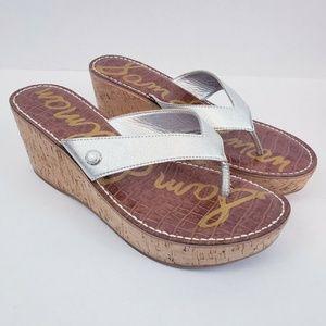 Sam Edelman Romy Thong Silver Sandals Size 10